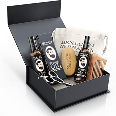 Beard Grooming Kit by Benjamin Bernard - Scissors, Oil, Wash, Wooden Comb and Brush Package Set - Natural Skin Moisturizer, Cleanser and Conditioner - ...