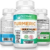 Organic Turmeric Curcumin Inflammation Supplement w/ Ginger, Boswellia & BioPerine® Complex: Formulated by Clinical Nutritionist Dr. Olivia Joseph [120 Caps - 2 Mo Supply]