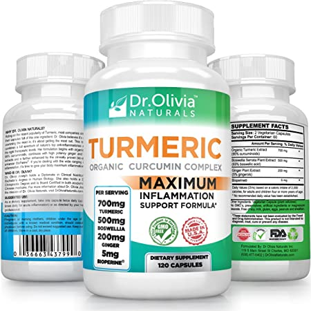 Organic Turmeric Curcumin w Ginger, Boswellia BioPerine Formulated by Clinical Nutritionist Dr. Olivia Joseph 120 Caps – 2 Mo Supply