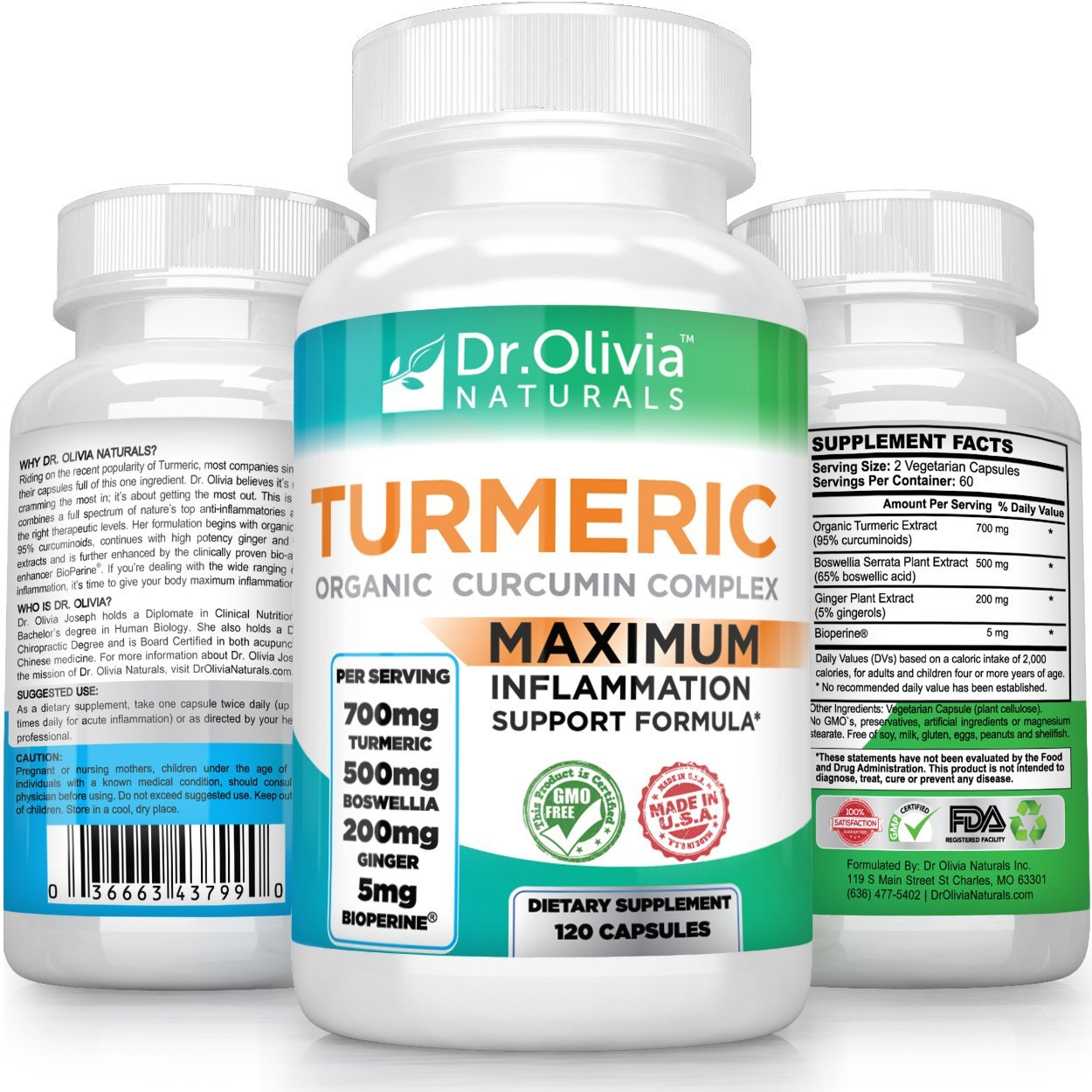 Organic Turmeric Curcumin w/Ginger, Boswellia & BioPerine® Formulated by Clinical Nutritionist Dr. Olivia Joseph [120 Caps - 2 Mo Supply]
