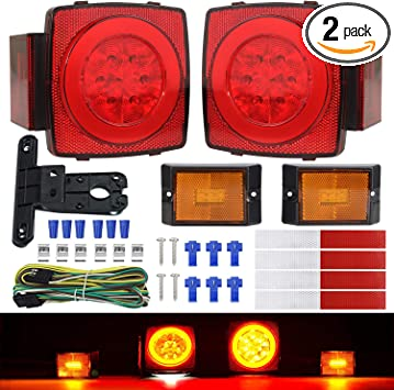 Linkitom New Halo Submersible LED Trailer Light Kit, Super Bright Brake Stop Turn Tail License Lights for Camper Truck RV Boat Snowmobile Under 80 Inch, IP68 Waterproof