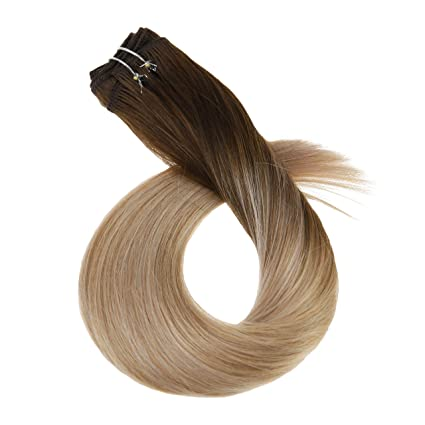 Ugea NEW Natural Weaving Human Hair Weft One Bundle 100g #4//18//16 Brown Ombre