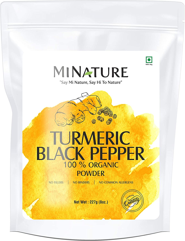 mi nature Turmeric Black Pepper Powder, Curcuma Longa with Piper nigrum, Promotes Healthy Stress and Inflammatory Response, Vegan, Gluten-Free, Non-GMO 227 Gram, 0.5 lb