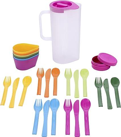 Culinario Juego de vajilla para camping con 6 cuencos, 6 cubiertos, 1 lata de plástico, 16 x 10 x 24 cm