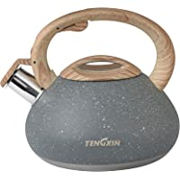 TENGXIN Whistling Tea Kettle,2.1 Quart,Stainless Steel Material,Marble Texture Finished Teapot,Anti-Hot Handle and Anti…