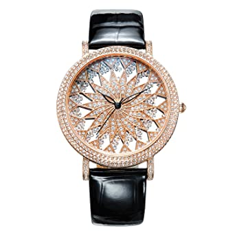 MATISSE Fashion Full Crystal Dial & Case Leather Strap Women Fashion Quartz Watch (Rose gold