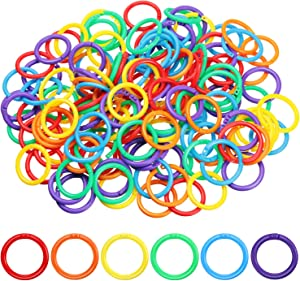 210 Pieces Plastic Loose Leaf Rings Multi-Color Binder Rings Plastic Book Rings Flexible for Cards, Document Stack and Swatches Organization School Home, or Office Use, 6 Colors