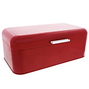 """Large Red Bread Box - For Kitchen Counter Storage - Bread Bin for Loaves, Bagels, Chips, More: 16.5"""" x 8.9"""" x 6.5"""" 