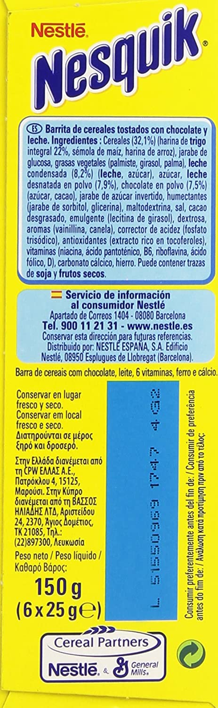 Nesquik - Barritas de cereales - 6 x 25 g: Amazon.es: Alimentación y bebidas