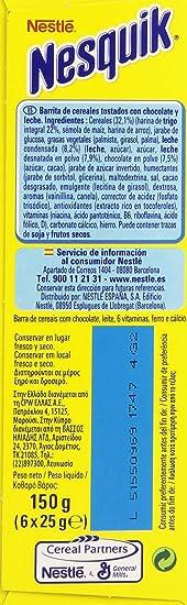 Nesquik - Barritas de Cereales con Chocolate - 4 Cajas de 6 Barritas de Cereales - Total: 24 Barritas: Amazon.es: Alimentación y bebidas