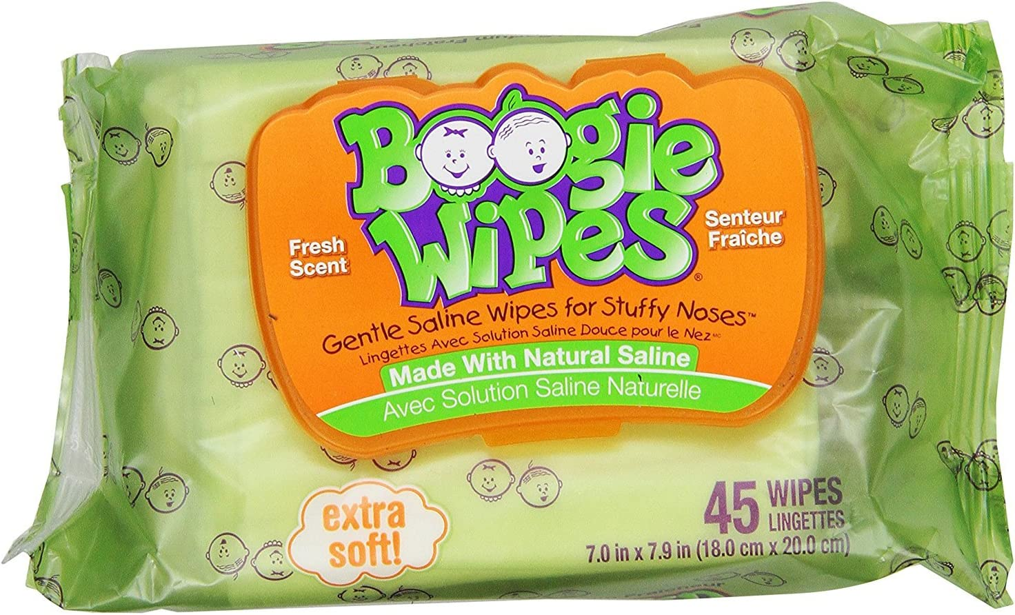 Boogie Wipes, Wet Nose Wipes for Kids and Baby, Allergy Relief, Soft Natural Saline Hand and Face Saline Tissue with Aloe, Chamomile and Vitamin E, Fresh Scent, 45 Count