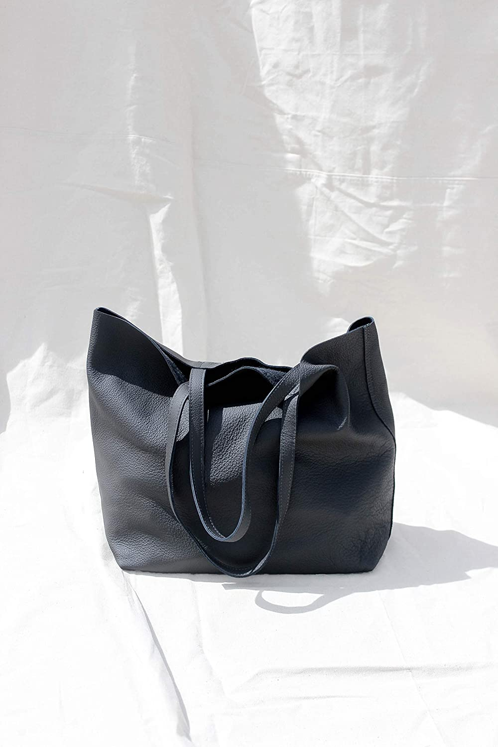 6789b9fda73 Amazon.com: Asphalt Grey - Oversized Leather Tote Bag: Handmade