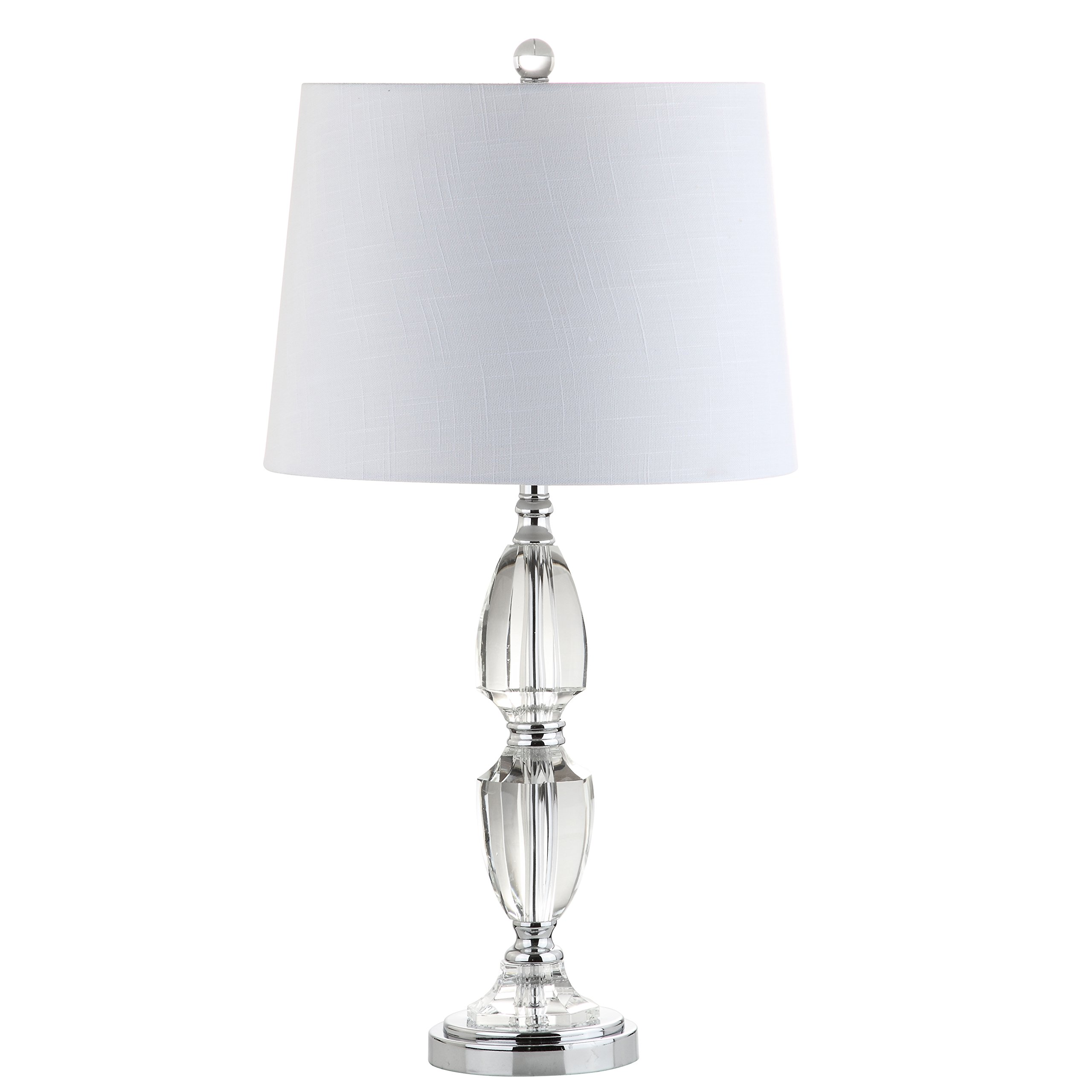 Jonathan Y JYL2039A Table Lamp, 14'' x 27'' x 14'', Clear/Chrome with White Shade
