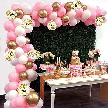 AivaToba Kit de Guirnalda de Globos Arch, 6 pies de Largo 115 Piezas Globos de Oro Blanco Rosa Paquete de Arco para niña Cumpleaños Baby Shower ...