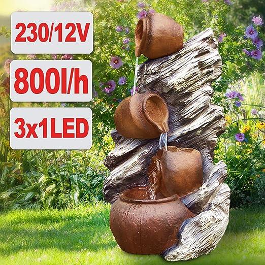 AMUR - Fuente de jardín con luz LED (230 V, cascada, para jardín, terraza, balcón): Amazon.es: Hogar