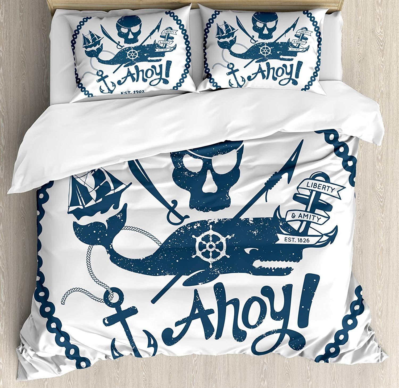 アンカー 4点 掛け布団カバーセット ベッドスプレッド ヴィンテージスタイル 航海海海海海海賊スカルとクジラデザイン 船のアンカーイメージ 4点寝具セット 子供/子供/大人用 装飾用 ダークブルー ホワイト King size B07JV9C8QS Dark Blue White King size