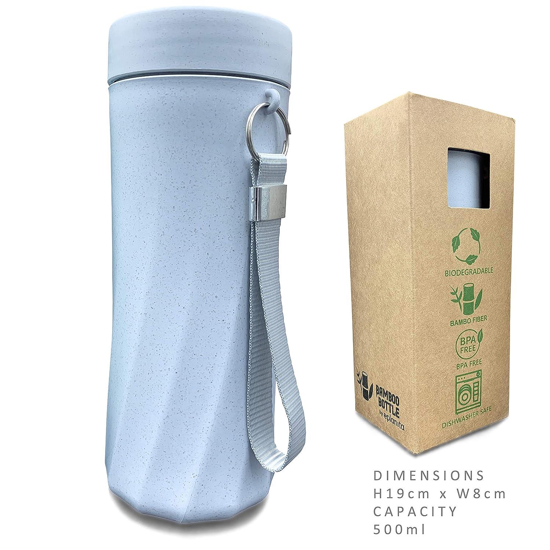 sin BPA y biodegradable Eplanita resistente a las roturas y a las fugas 500 ml azul ecol/ógica Botella de agua de fibra de bamb/ú