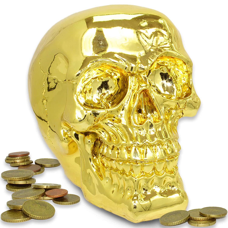 Spardose Totenkopf Spardose Deko Skull Metallic silber glänzend silber
