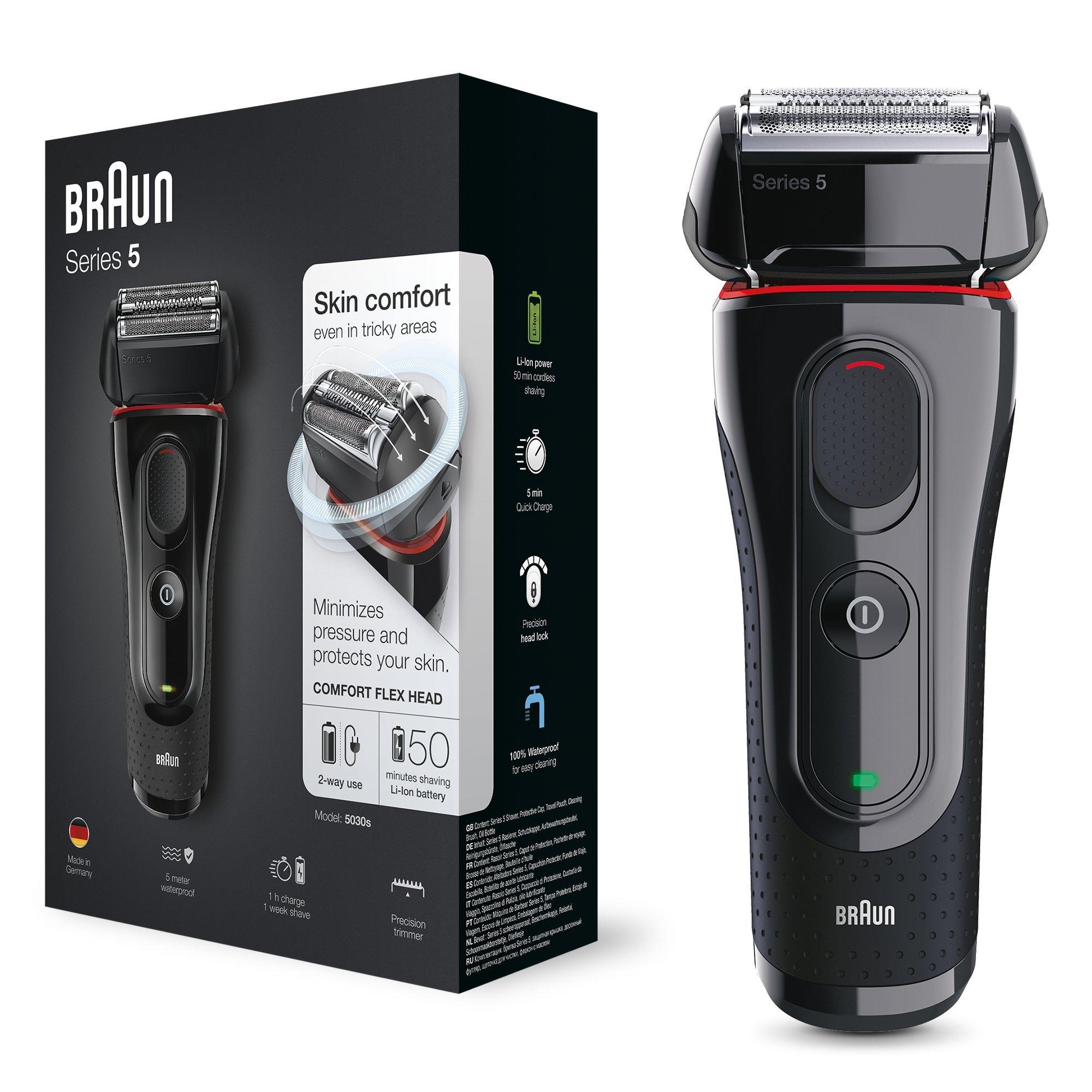 Braun Series 5 5030 s Afeitadora Eléctrica Hombre, Afeitadora Barba, Recortador de Precisión Extraíble, Recargable e Inalámbrica, Negro/Rojo product image
