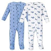 Hudson Baby Baby Zipper Sleep N Play, Blue Whales 2 Pack, 3-6 Months (6M)