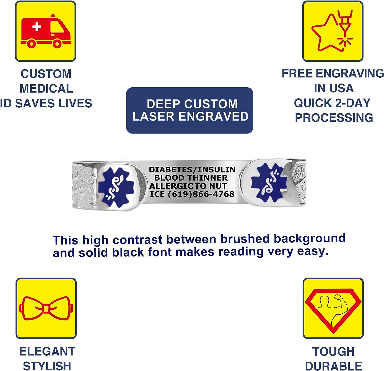 Divoti Custom Engraved Medical Alert Bracelets for Women, Stainless Steel Medical Bracelet, Medical ID Bracelet w Free Engraving – Lovely Filigree Olive w 6 Cuff fits 6.5-8.0 Color