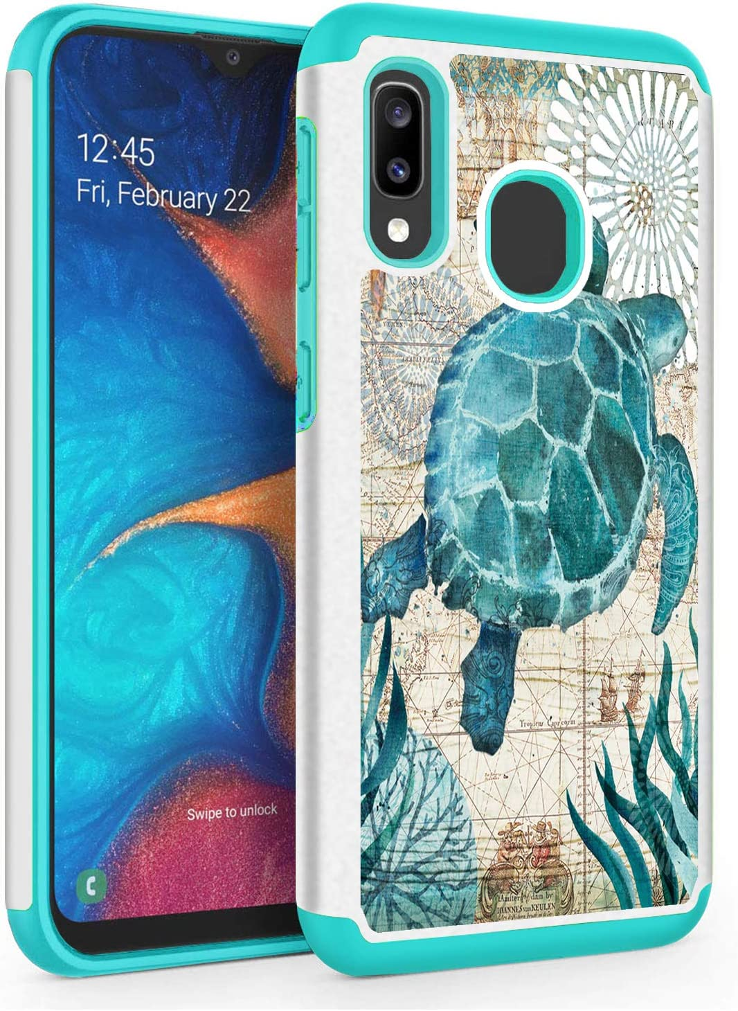 Galaxy A20,Galaxy A30 Case,Skyfree Shockproof Heavy Duty Protection Hard PC & Soft TPU Hybrid Dual Layer Protective Phone Case for Samsung Galaxy A20/A30 6.4inch,Baby Sea Turtle