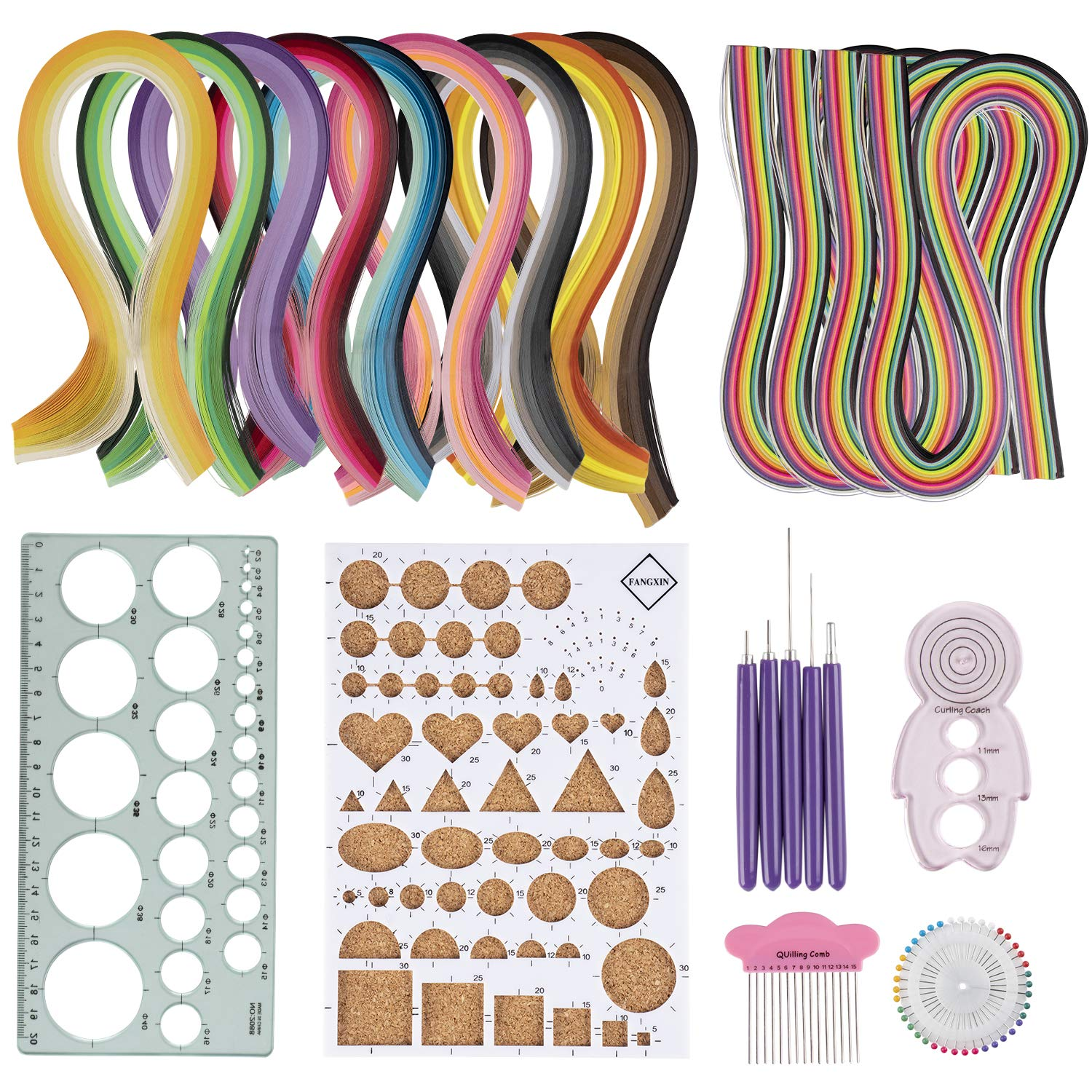 Includes 9 Gradient Color Strip Set Comb 5 Awls Ruler Template 4 Rainbow Color Strip Set Curling Coach Pearl Pin Set Quilling Kit Quilling Board 23-in-1 Paper Quilling Set