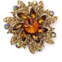 LAXPICOL Vintage Women's Austrian Crystal Elegant Flower Brooch Wedding Broach Pin