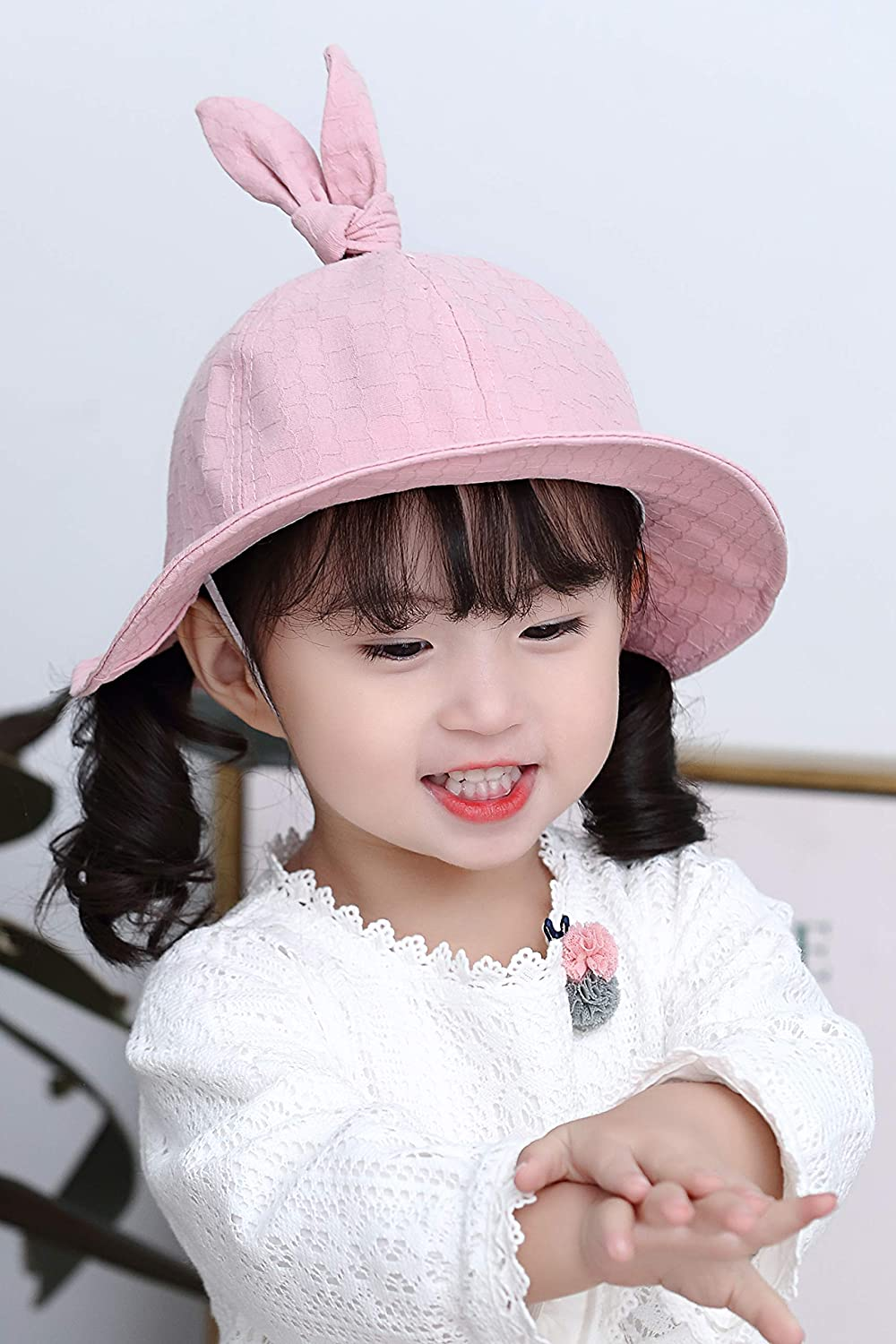 ACVIP Little Girls Bunny Shaped Fancy Novelty Outdoor Bucket Hat Cotton