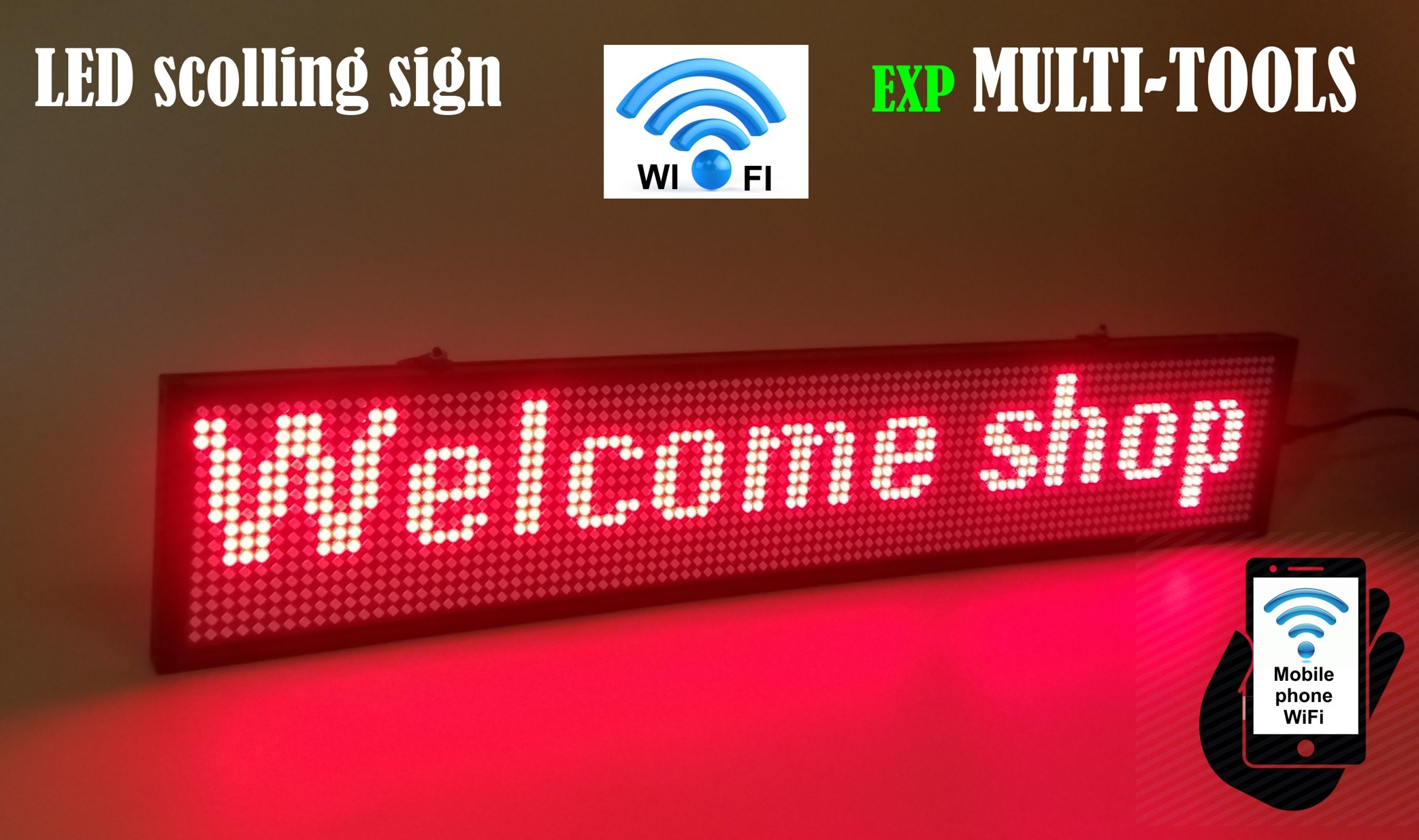 LED Display RED Color with WiFi Connection, LED Scrolling Message Sign, Bright and in New Light auminum housing