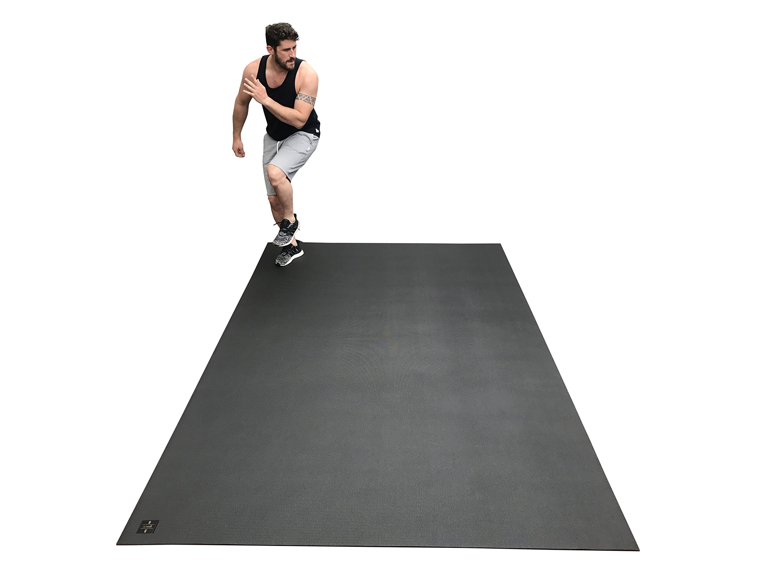 Large Exercise Mat 10 Ft X 6 Ft (120'' x 72'' x 1/4''). Designed For Cardio Workouts WITH Shoes. Perfect For MMA, Cardio And Plyometric Workouts. Ideal For Home Gyms Or Living Room Workouts. Square36 by Square36