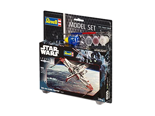 Revell Revell-ARC-170 Star Wars Set ARC-170 Fighter, en Kit Modelo con Base Accesorios, fácil Pegar y para pintarlas, Escala 1:83 (63608), 10,0 cm de ...