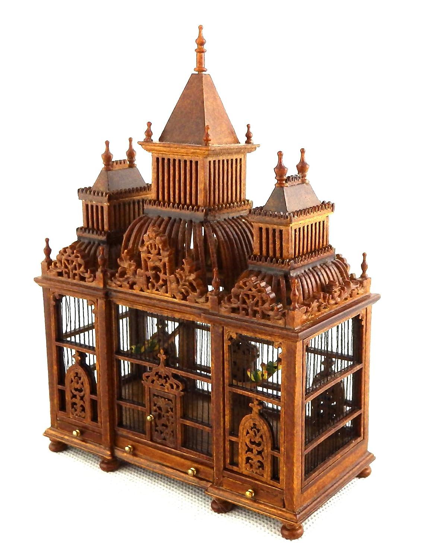 entrega rápida MELODY Jane Casa De De De Muñecas Decoración 3 TORRETA Nogal Madera Victoriana Jaula de pájaros con Pájaros Miniatura  Envío y cambio gratis.