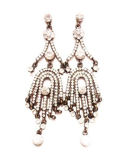 7fa600672a02 Pendientes Largos Mujer Dorados con Cristales de Color Bisutería Elegante