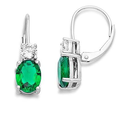 Miore Earrings Women Drop earrings Emerald and Brilliant Cut Zirconia 925 Sterling Silver k06km