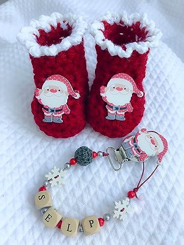 Set bebé Navidad | botas | puerta chupete con nombre ...
