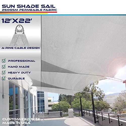 Windscreen4less A-Ring Reinforcement Large Sun Shade Sail 12 x 22 Rectangle Super Heavy Duty Strengthen Durable 260GSM -Galvanized Cable Enhanced – Light Grey 442 Year Warranty