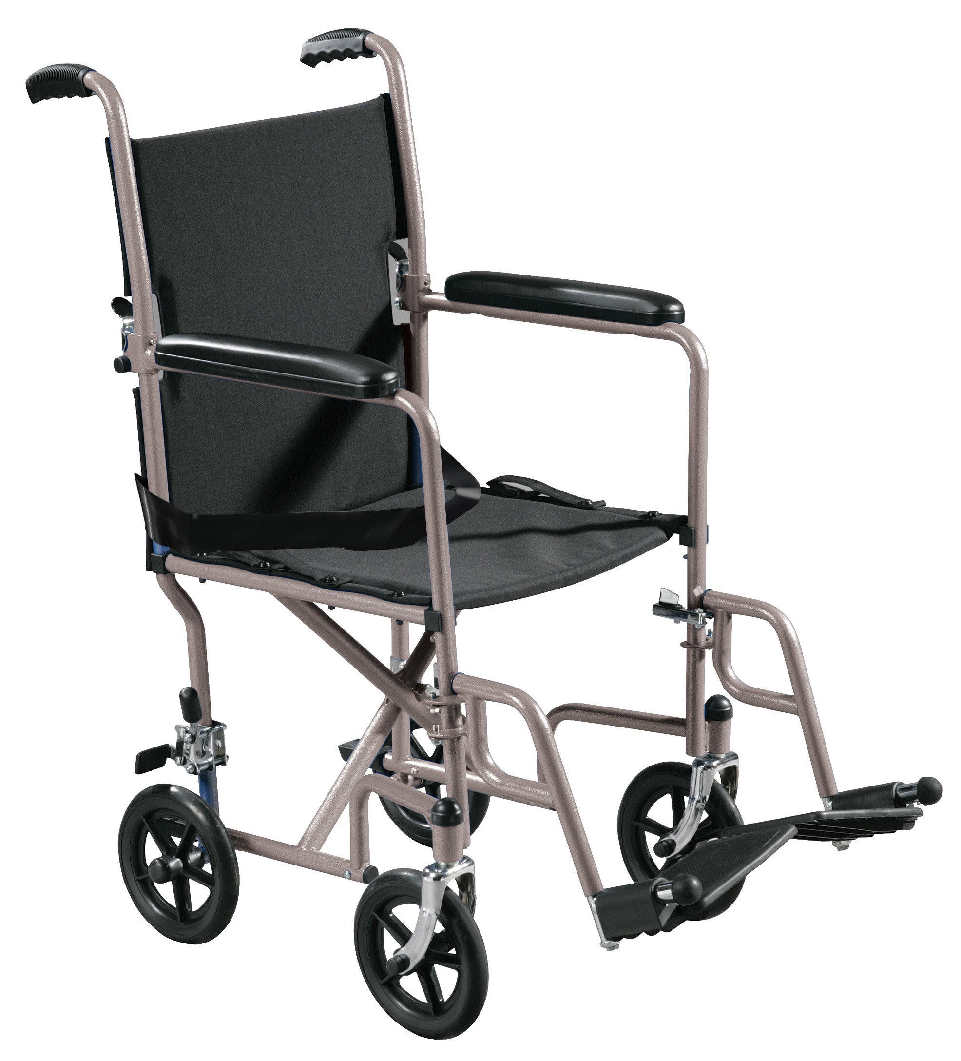 Drive Medical Lightweight Steel Transport Wheelchair, Fixed Full Arms, 19'' Seat