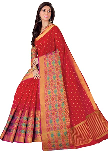 1b6793a1c968fd Rajguru Women s Raw Silk Saree with Blouse Piece (Red