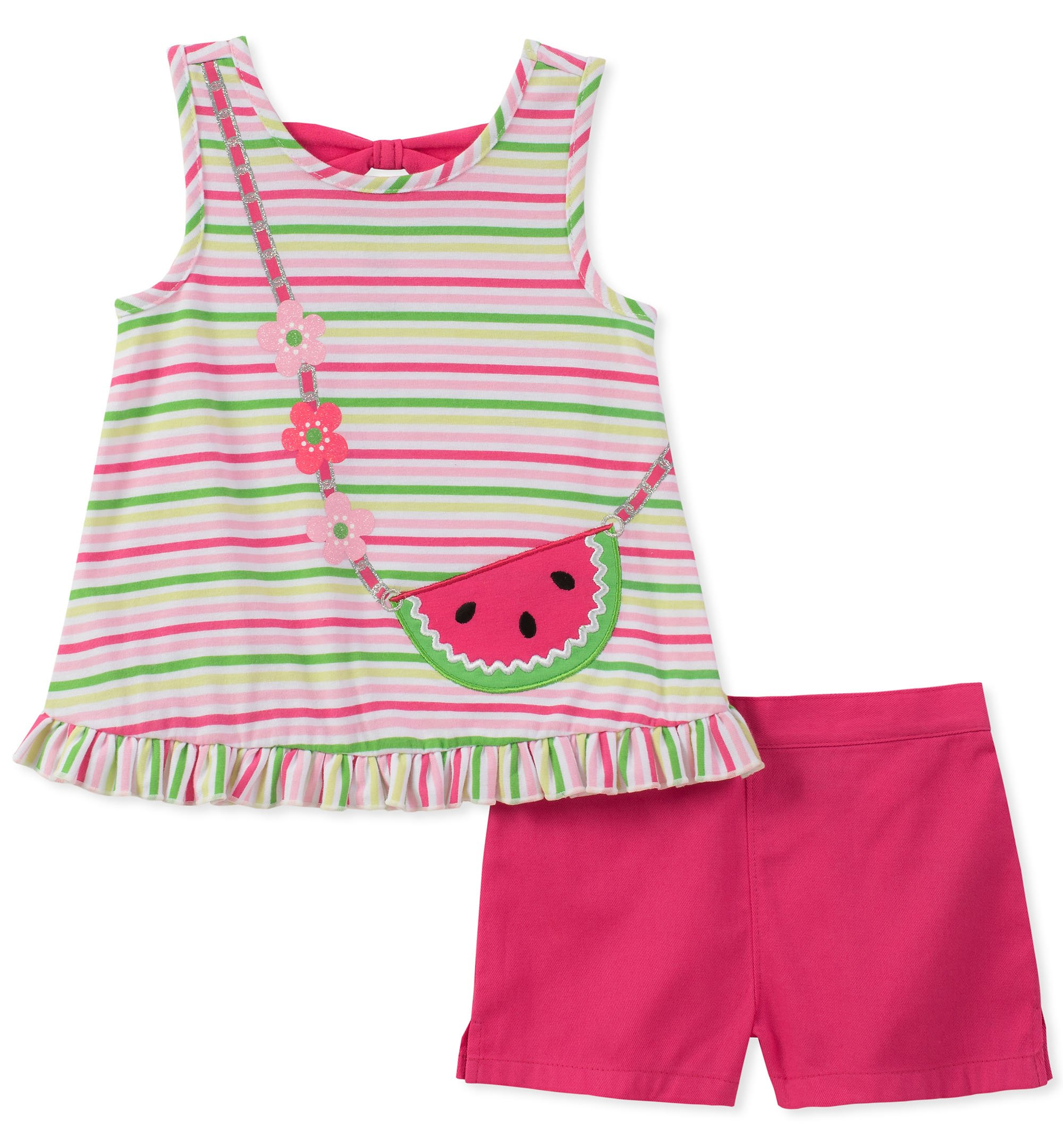 Kids Headquarters Little Girls' 2 Pieces Shorts Set, Watermelon, 6X