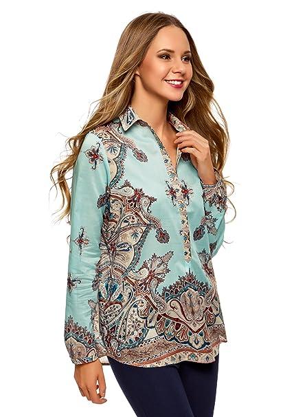 oodji Collection Mujer Blusa de Algodón con Estampado, Turquesa, ES 36 / XS