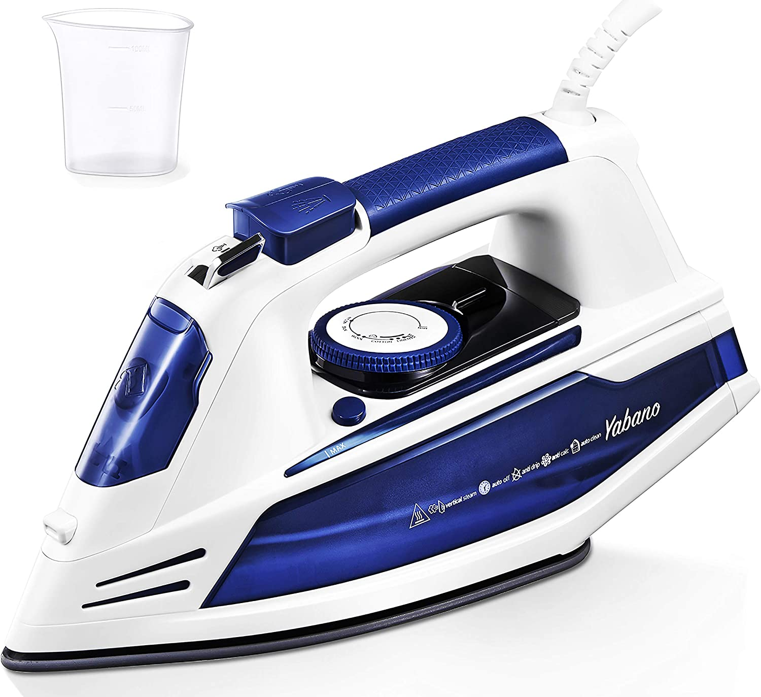 Yabano Steam Iron, Professional Iron for Clothes with Non-Stick Soleplate, Anti-Drip, 3 Way Auto-Off, Anti-Calc, Variable Temperature and Steam Control, 100+ Axial Aligned Steam Holes, Lightweight