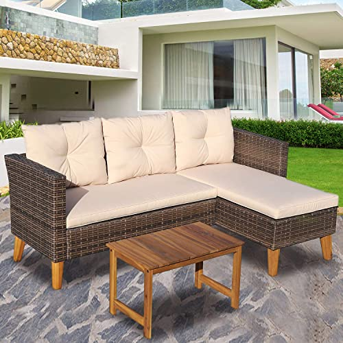 Patio Furniture – 3 Piece Outdoor Sectional Sofa, Brown Wicker, Beige Cushions