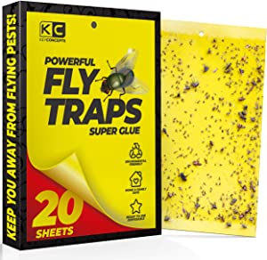 Yellow Sticky Traps (20 Pack), Fruit Fly Trap (Gnat Trap Indoor & Outdoor), Fly Paper, Fruit Fly Killer, Gnat Traps for House Plants, Fruit Fly Traps for Kitchen, Indoor Fly Traps, Fly Strips
