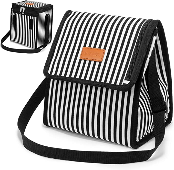 Amazon Com Lovevook Lunch Bags Insulated Cooler Lunch Box With Expandable Capacity Adjustable Shoulder Strap For Women Men Picnic Office Camping School Black White Stripe Kitchen Dining