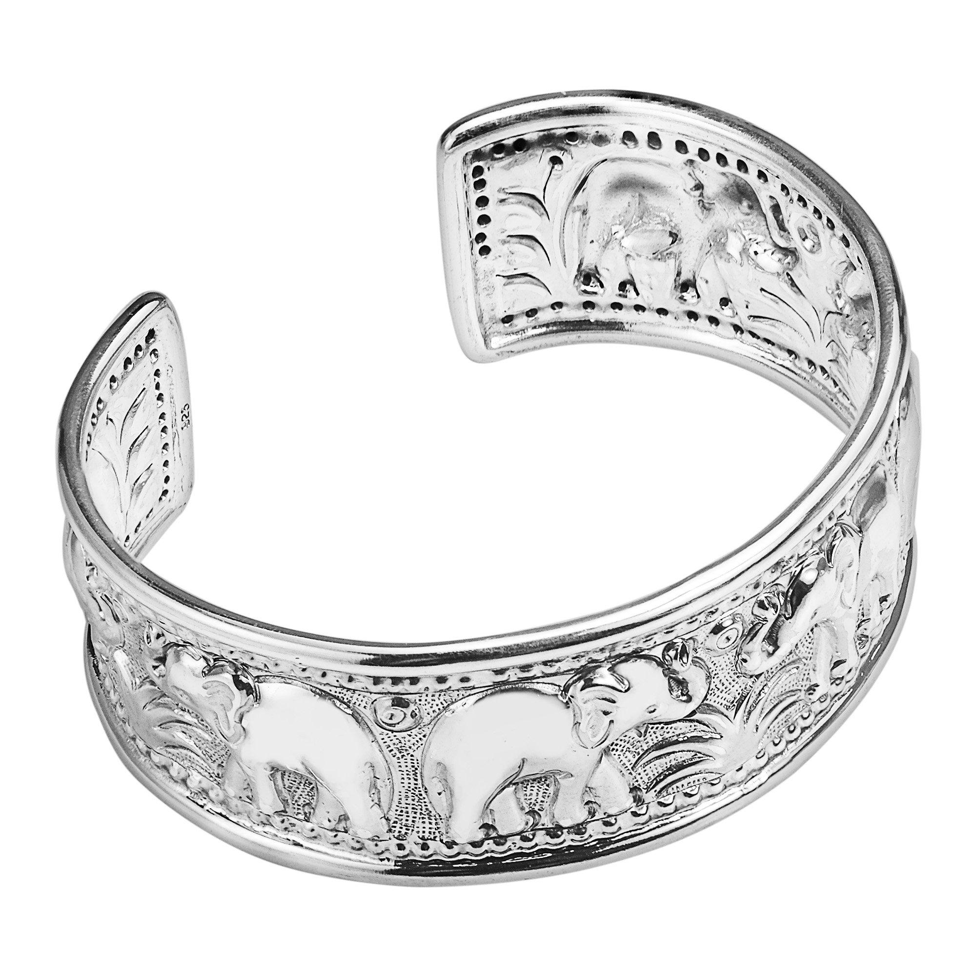 Elephant Jungle Trek Thai Yao Hill Tribe Fine Silver Adjustable Cuff Bracelet by AeraVida (Image #2)