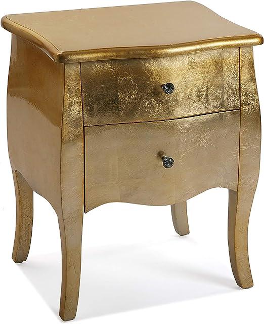 Versa 21260022 Table De Chevet Confortable En Bois Dore 60 X 39 X