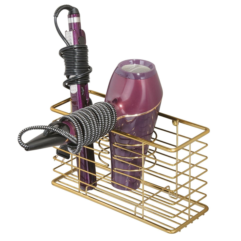 mDesign Porta asciugacapelli da appendere – Comodo cestello portaoggetti bagno per phon, piastra e spazzole – Porta phon multiuso a 3 scomparti – rame MetroDecor