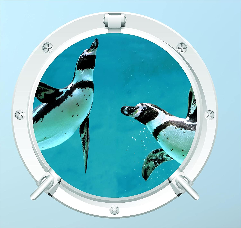 OCEAN SEA PORTHOLE BEACH BEDROOM LOUNGE Z170 PENGUIN WALL STICKER 3D LOOK