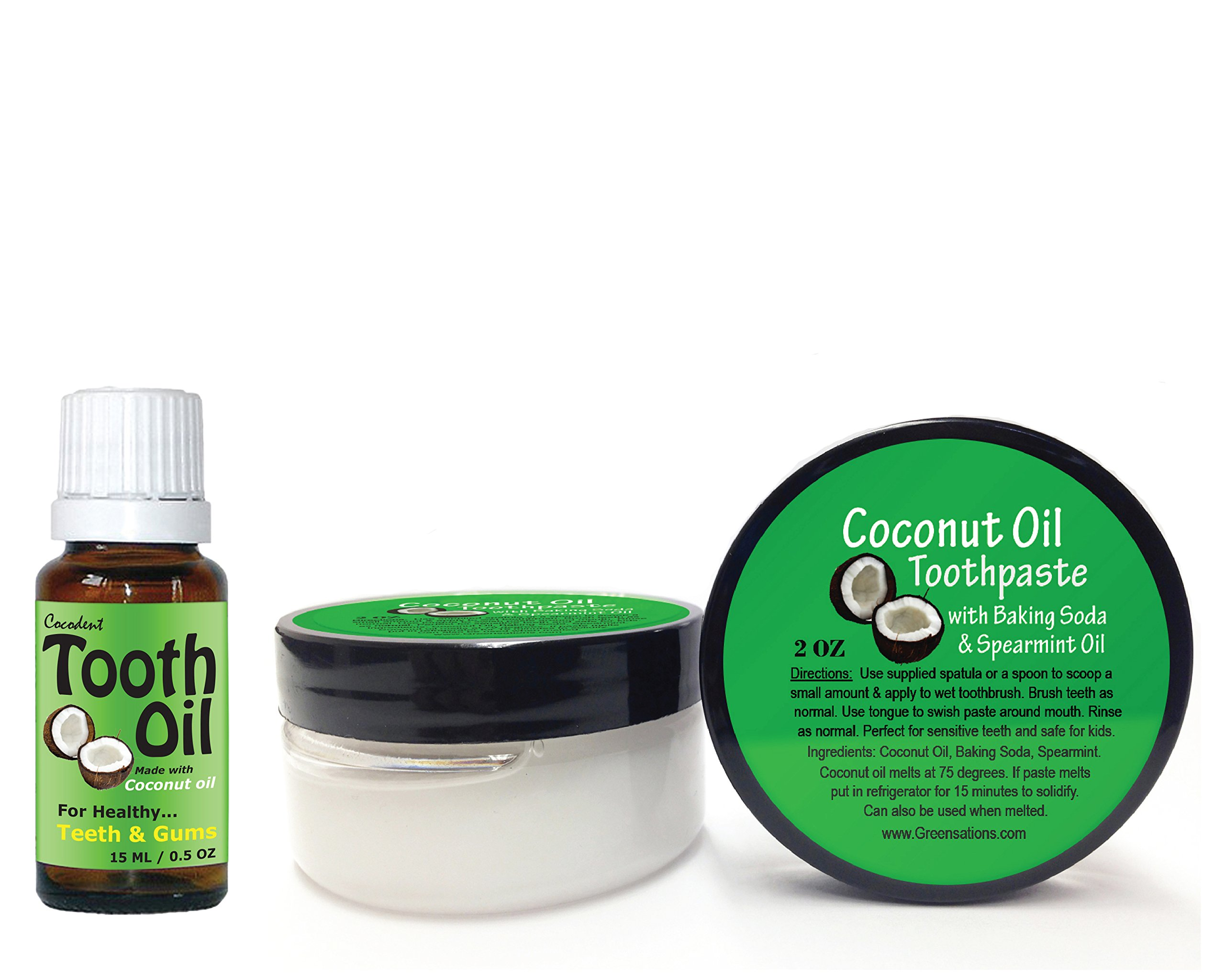 Coconut Oil Toothpaste Tooth Oil Kit for Natural Teeth Whitening and Oral Care